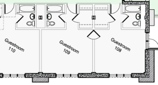 NPS drawing Ahwhanee guestroom floor plan rooms 110, 109, 108 at corner of building above outside seating for bar