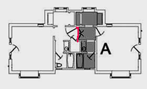 floor plan with shared doors marked