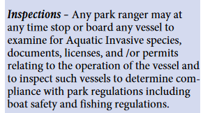 Inspections Any park ranger may at any time stop or board any vessel