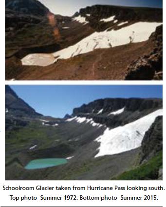 two photos of a glacier
