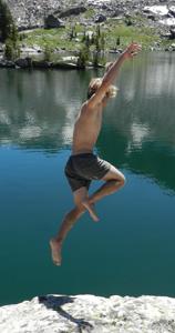 jumping into lake solitude