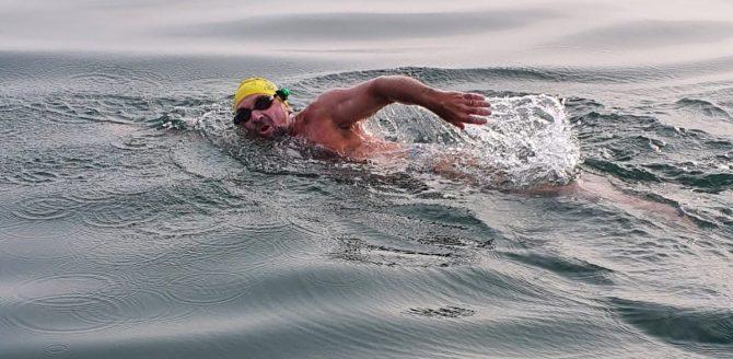 Ken Mignosa during his English Channel swim