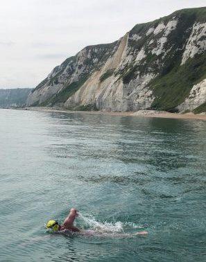 Ken Mignosa during his English Channel solo swim June 19, 2021