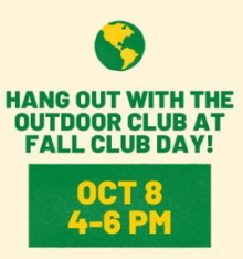 poster says hang out with the outdoor club at club day